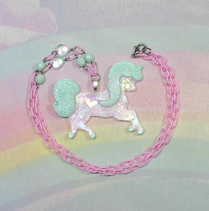 Glitter Unicorn Necklace Fairy Kei Necklace Pop Kei image 0
