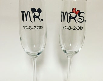 92d157ee9448 Mr. And Mrs. Disney inspired wedding champagne glasses set