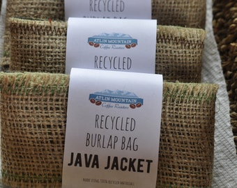 Upcycled Burlap bag java jacket / Cup cozy