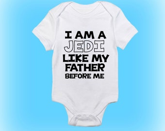 funny cute Jedi in training bodysuit new baby birth announcement Eid baby onesie first birthday gift Christmas baby shower gift
