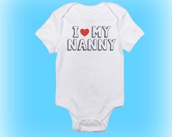 I Love My Nanny Grandma Nanna Nan Baby Bib Blue Pink Babies Clothes Funny Gift