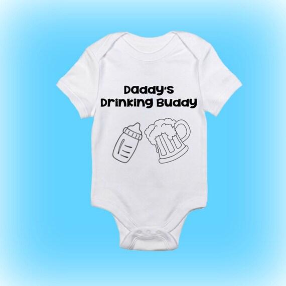 Daddys Drinking Buddy Onesie Funny Onesie Gift For Etsy