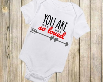 You Are So Loved - First Valentines - First Valentines - Loved Onesie - Heart Onesie - Valentines Onesie - Baby Onesie - Baby Boy -Baby Girl