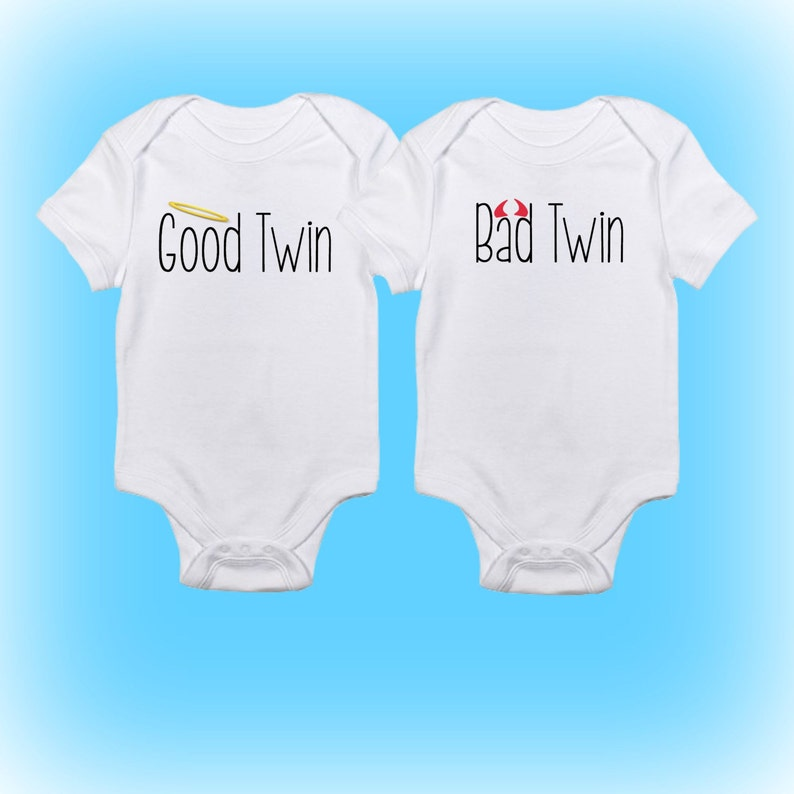 bb20c4708c24 Twin Onesies® Good Twin Bad Twin Onesies Cute Twin Onesies | Etsy