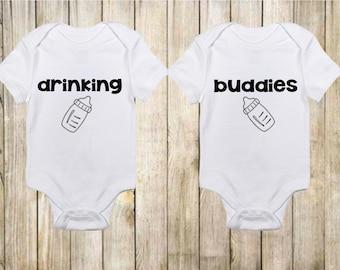 Drinking Buddies Onesie® Twins, Funny Twin Onesies, Gender Neutral Twin Onesies, Twin Baby Shower, New Baby Gift Twins, win Baby Gift Funny