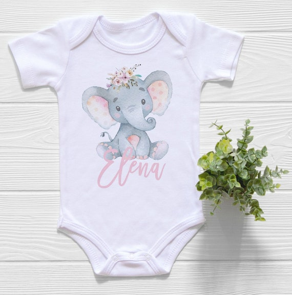 Boho Elephant Baby Onesie \u00ae for Pregnancy Announcement Personalized Shower Gift Monogram Baby Clothes Name Reveal Girls Take Home Outfit