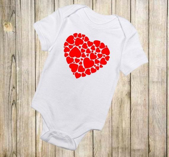 Heart Onesie Valentines Day Onesie Valentines Day Clothing Etsy