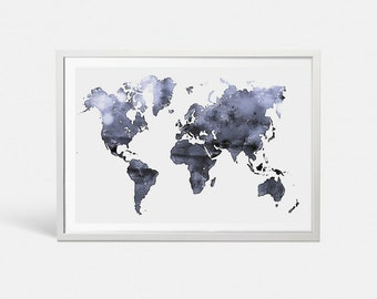 Grey World Map Etsy - Grey world map poster