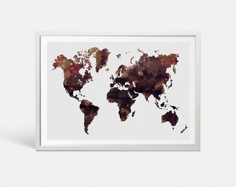 Watercolor world map etsy world map print brown watercolor world map wall art brown world map art large world map poster printable world map download map of the world gumiabroncs Choice Image
