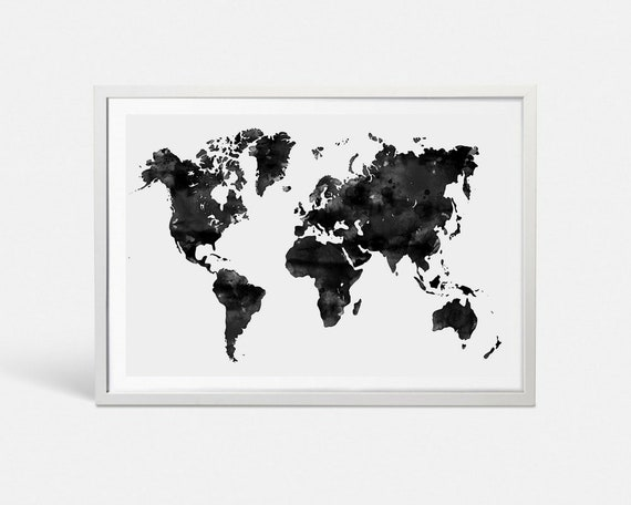 World map poster black watercolor world map art push pin map etsy image 0 gumiabroncs Images