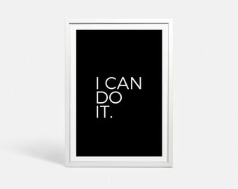 Motivational posters Motivational prints Fitness motivation I can do it Fitness printable You can do it art I can do it art Motivating print
