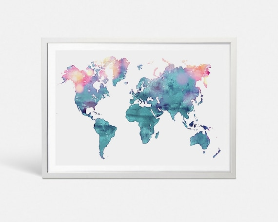 Turquoise watercolor world map wall art watercolor print push etsy image 0 gumiabroncs Images