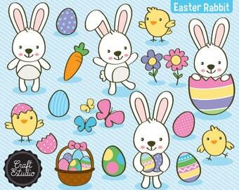 Easter Rabbit, Easter, Rabbit, Digital Kit, Clipart, High resolution, Butterflies, butterflies, Easter eggs, Basket, easter egg