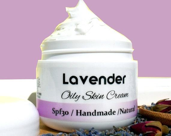 Spf30 Oily Acne / Skin Renew - Exfoliating - Pore Minimizer / Problem Prone LAVENDER Cream - Natural and Handmade Skin Care / Face cream