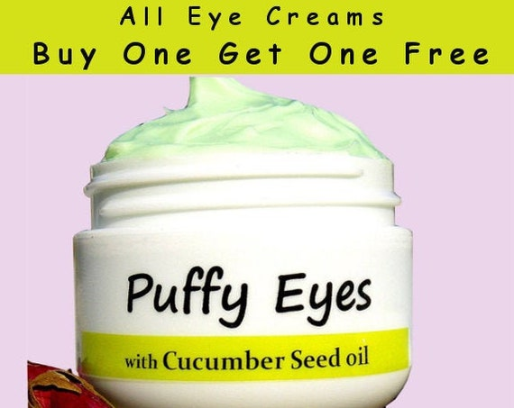Anti Wrinkle/ Puffy Eyes Eye cream  - with 100% Pure Cold pressed Unrefined Organic Cucumber Seed oil  - Anti Aging/ Natural Handmade