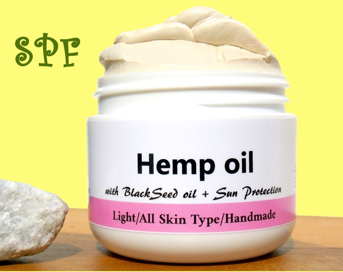 Featured listing image: SPF/Hemp Oil/Natural & Handmade Anti Aging cream with Sun Protection/Zink Oxide /Face moisturizer /Vegan/ Skin Care Product