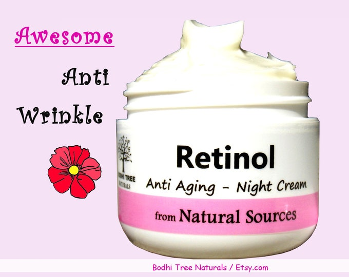 Featured listing image: Retinol Night cream / Anti Aging / Retinol from Natural Sources / Self Care / Handmade SkinCare