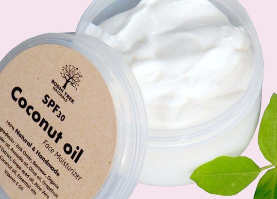 SPF30 Dry skin/Coconut oil Face cream  - Natural Handmade Face moisturizer/Cream - Made with Zink Oxide - SkinCare