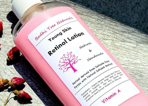 Rose Retinol Lotion - Vitamin A Body Lotion - Natural Retinol - Vegan Retinol - Pink/Rose Lotion/ Natural Handmade Skin Care