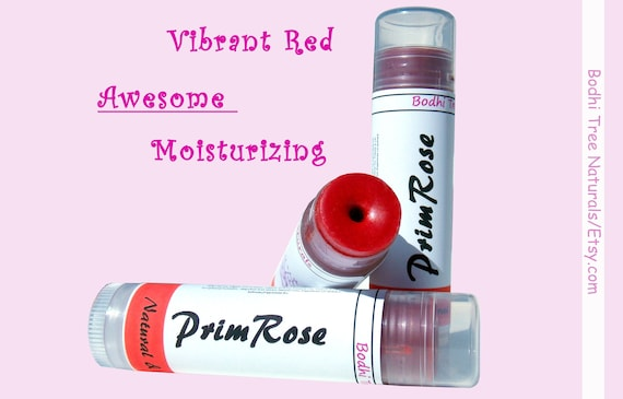 SPF20 Natural Vibrant Red Tinted Lip Balm/with PrimRose oil & Zink Oxide/Sun Protection - Handmade Skin Care