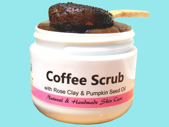 Anti Aging / Even skin Tone /Coffee Face Scrub with Moisturizing Rose Clay & Pumpkin Seed oil/ Natural Handmade Skin Care