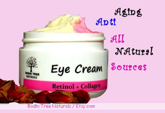 Anti Aging Eye Cream/Retinol + Collagen with Eye Brigthening Rose Hips oil - Eye wrinkle cream Non-GMO Collagen - Handmade Natural SkinCare