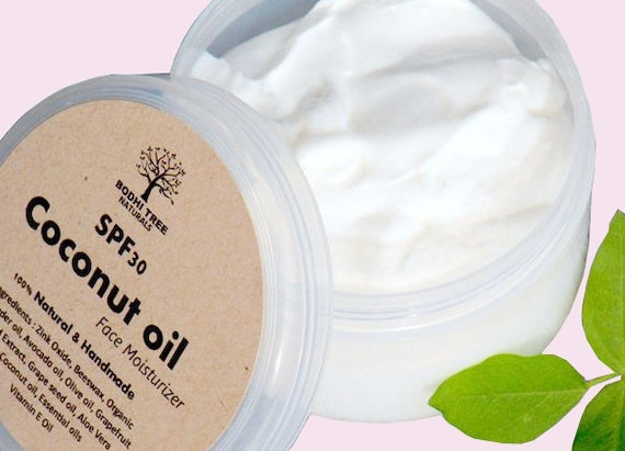 4oz SPF30 Dry skin Face Cream - Coconut oil Face cream  - Natural Face moisturizer - Dry Skin Cream - with Zink Oxide - Handmade SkinCare