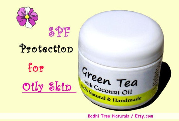 SPF30 Green Tea Oily/Acne Skin Cream / Coconut oil + Tamanu oil / Face Moisturizer/Problem Prone /Natural Handmade SkinCare