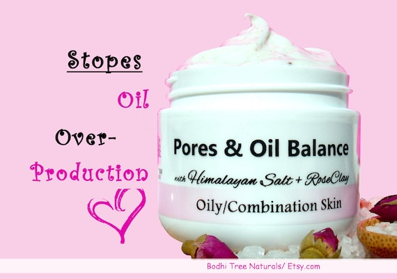 OILY Skin - Pores & Oil Balance Cream/Face moisturizer /Combination skin + Minerals with Himalayan Sea Salt /Natural Handmade Skin Care