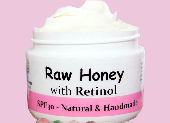 Spf30 Raw Honey(unpasteurized) - Face Moisturizer/Sunscreen /Benefits ACNE prone skin /Illuminator/Natural Retinol/ Handmade Skincare