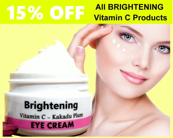 VITAMIN C / Brightening EYE CREAM - Night Moisturizer with Kakadu plum - Natural Handmade Skin Care