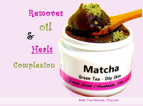 Superfood OILY & ACNE/ Matcha Green Tea Facial Scrub - Deep Pore CLEANSER /Exfoliating - 100% Vegan - Natural Handmade Skin Care