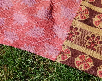 DEEPALI - KANTHA quilt artisan cotton throw BLANKET picnic rug / hippie boho bohemian homewares / multi-purpose gypsy pink brown