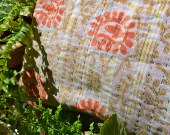 "KANTHA LAPTOP SLEEVE handmade 12"" Macbook notebook computer case cover / one-of-a-kind saree sari fairtrade / small mustard orange"