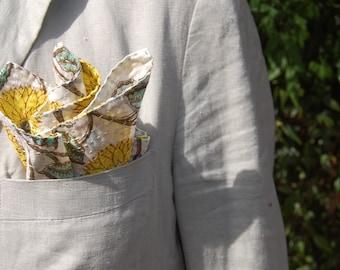POCKET SQUARE kantha handkerchief Indian 100% handmade / double-sided hand block print / yellow white green / Handmade in Australia