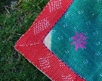 BINDI - BOHEMIAN picnic rug KANTHA quilt / heavy handmade reversible Indian gypsy bedding / vintage bedspread Maharaja