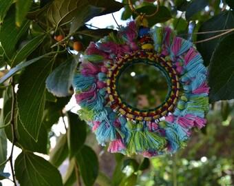 BOHEMIAN MIRROR KEYCHAIN charms / handmade bag charms boho home decoration / colourful ornaments / keyring vegan pink blue green