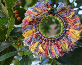 HIPPIE KEYCHAINS hanging suncatcher handmade ornaments / rear view mirror charm / bag boho home decoration / colourful cotton tassel