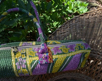KANTHA YOGA mat carry BAG / handmade vintage bohemian / Indian repurposed saree boho yogi / purple green floral