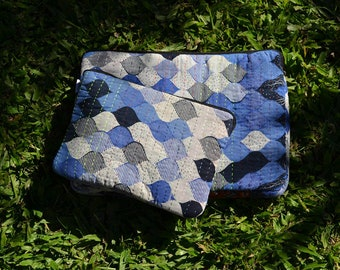 """KANTHA LAPTOP SLEEVES / Macbook Pro 15"""" & 10.5-inch iPad Pro tablet soft case covers protector / handmade sari fairtrade / blue"""
