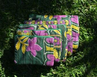 "KANTHA LAPTOP SLEEVES / purple green vintage floral sari / handmade soft case cover computer sleeve / Macbook 12"" 13"" 15"" iPad sizes"