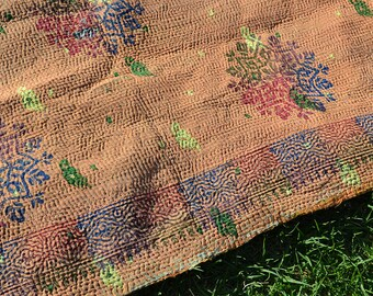 MANDALA - Kantha QUILT Queen tapestry INDIAN throw / bohemian bedding blanket / hand embroidered peach rainbow woodblock print / Maharaja