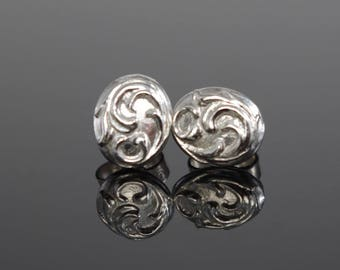 Sculpted Low Relief Sterling Silver Scroll Stud Earrings