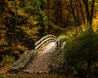 Autumn Footbridge Blank Note Card