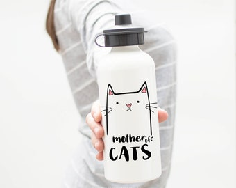 Mother of Cats, Cat Water Bottle, Metal Water Bottle, Gifts For Her, Gifts For Women, Cat Drink Bottle, Gifts For Cat Moms, Cat Lady Gifts