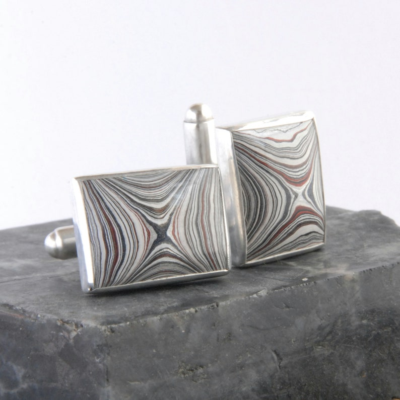 Oblong fordite and sterling silver swivel cufflinks