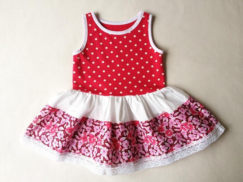 7a6119fdca11f Robe de fille printemps été robe robe à pois rose Fuchsia à
