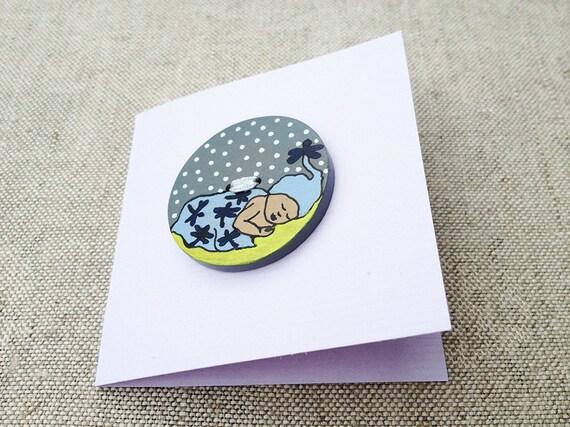 Newborn baby boy shower gift New baby birth card Greeting card Spring celebration