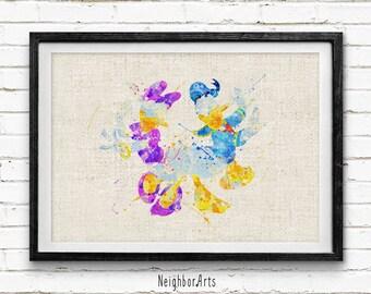 Disney, Donald Duck & Daisy Duck, Poster, Watercolor Painting, Wall Art Print, Wedding Gift, Baby Nursery Decor, Kids Decor, Home Decor, 139