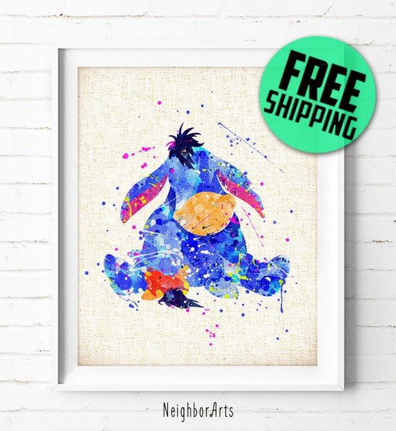 Eeyore and Piglet from Winnie the Pooh Watercolor Illustrations Print Wall Art